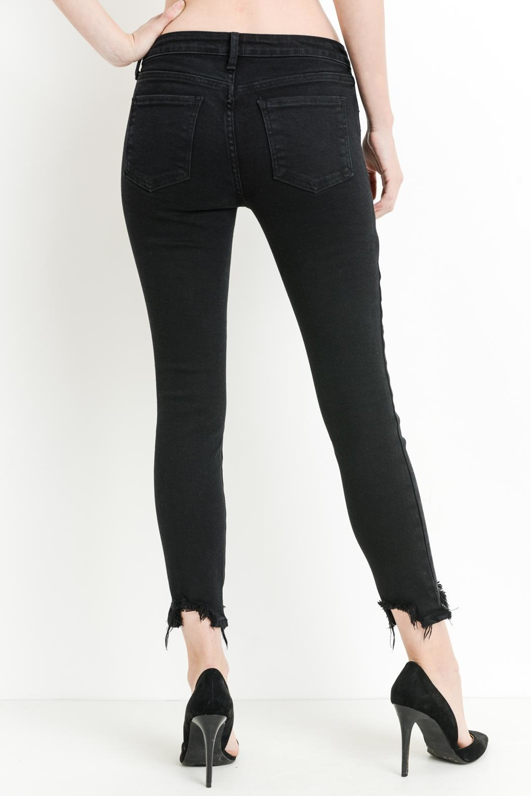 just black Destroyed Hem Jeans - Side Cropped Image