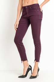 just black Destroyed Hem Skinnies - Front full body