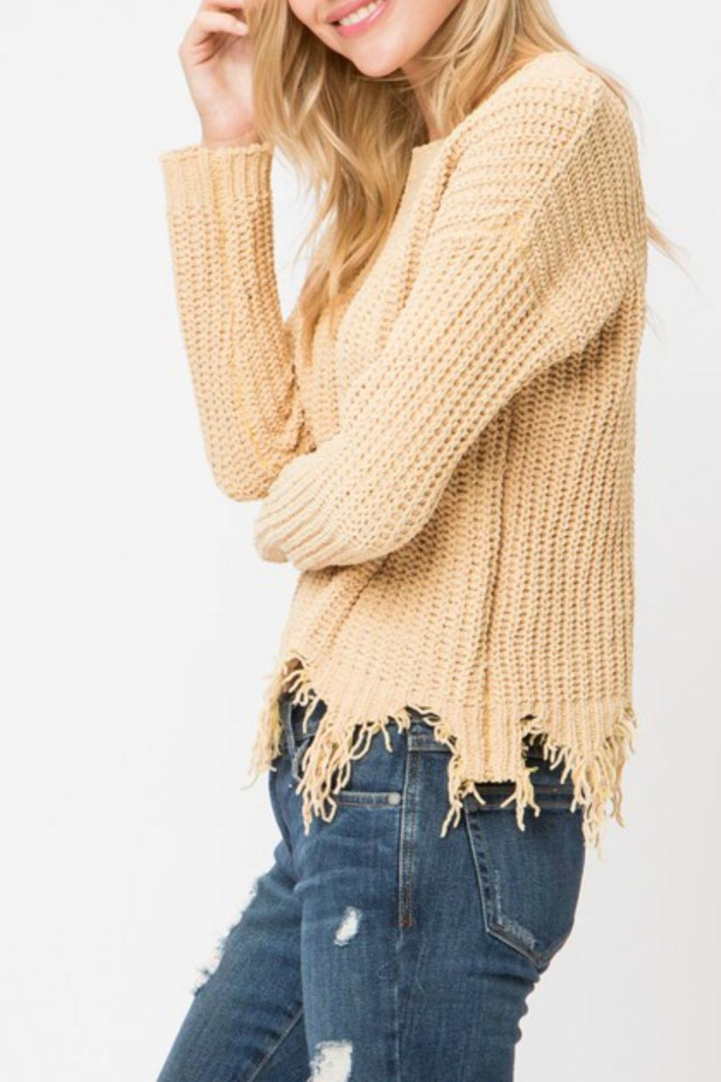 Cozy Casual Destroyed Hem Sweater - Front Full Image