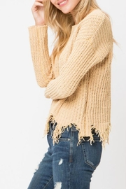 Cozy Casual Destroyed Hem Sweater - Front full body