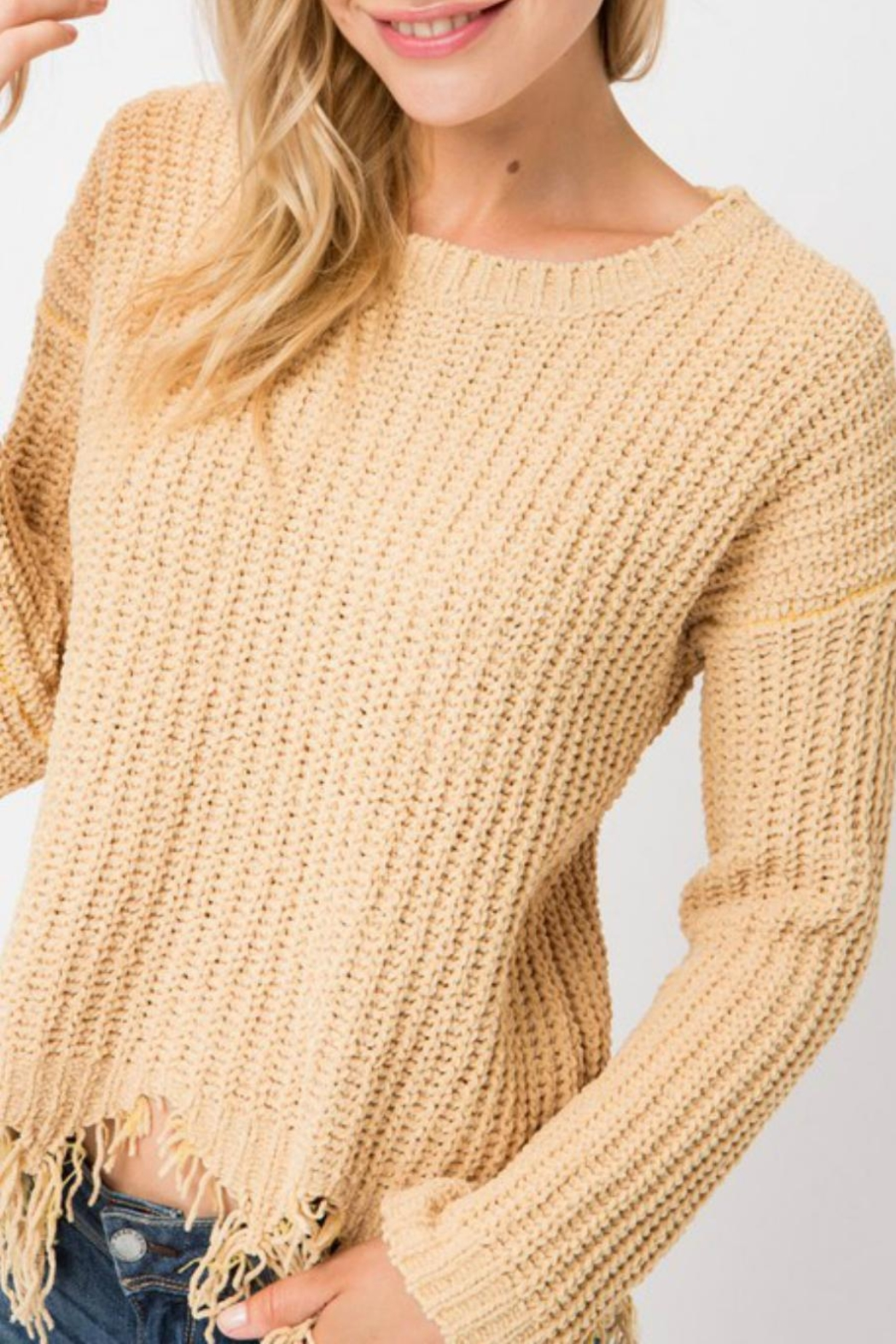 Cozy Casual Destroyed Hem Sweater - Main Image