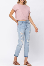 Judy Blue Destroyed Mid Rise Boyfriend Curvy - Front cropped