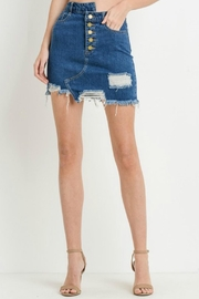 Black Label Destroyed Mini Skirt - Front cropped