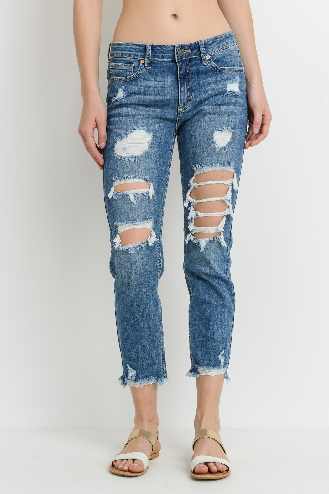 just black Destroyed Skinny Jeans - Front Cropped Image