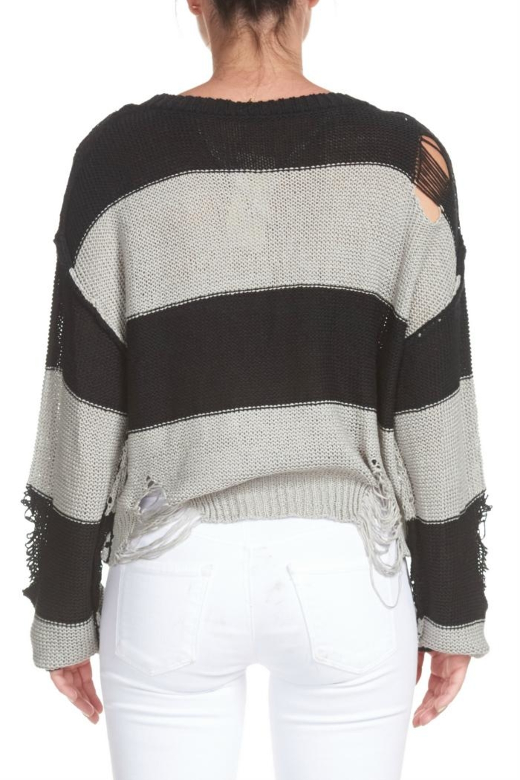 Elan Destroyed Striped Sweater - Side Cropped Image