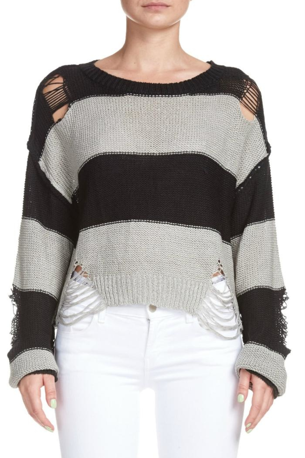 Elan Destroyed Striped Sweater - Front Full Image