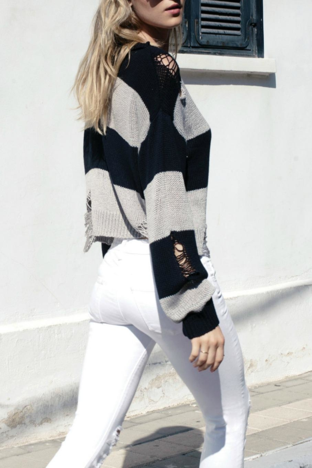Elan Destroyed Striped Sweater - Front Cropped Image