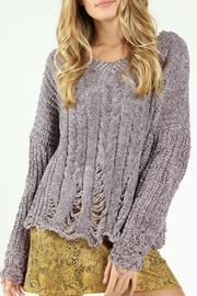 Honey Punch Destructed-Chenille Cable Sweater - Front cropped