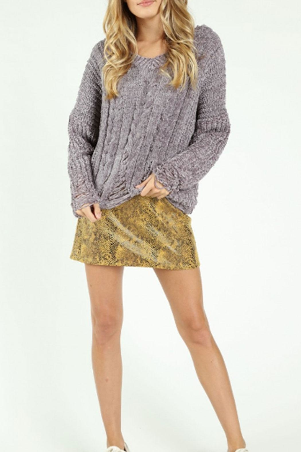 Honey Punch Destructed-Chenille Cable Sweater - Front Full Image