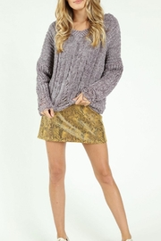 Honey Punch Destructed-Chenille Cable Sweater - Front full body
