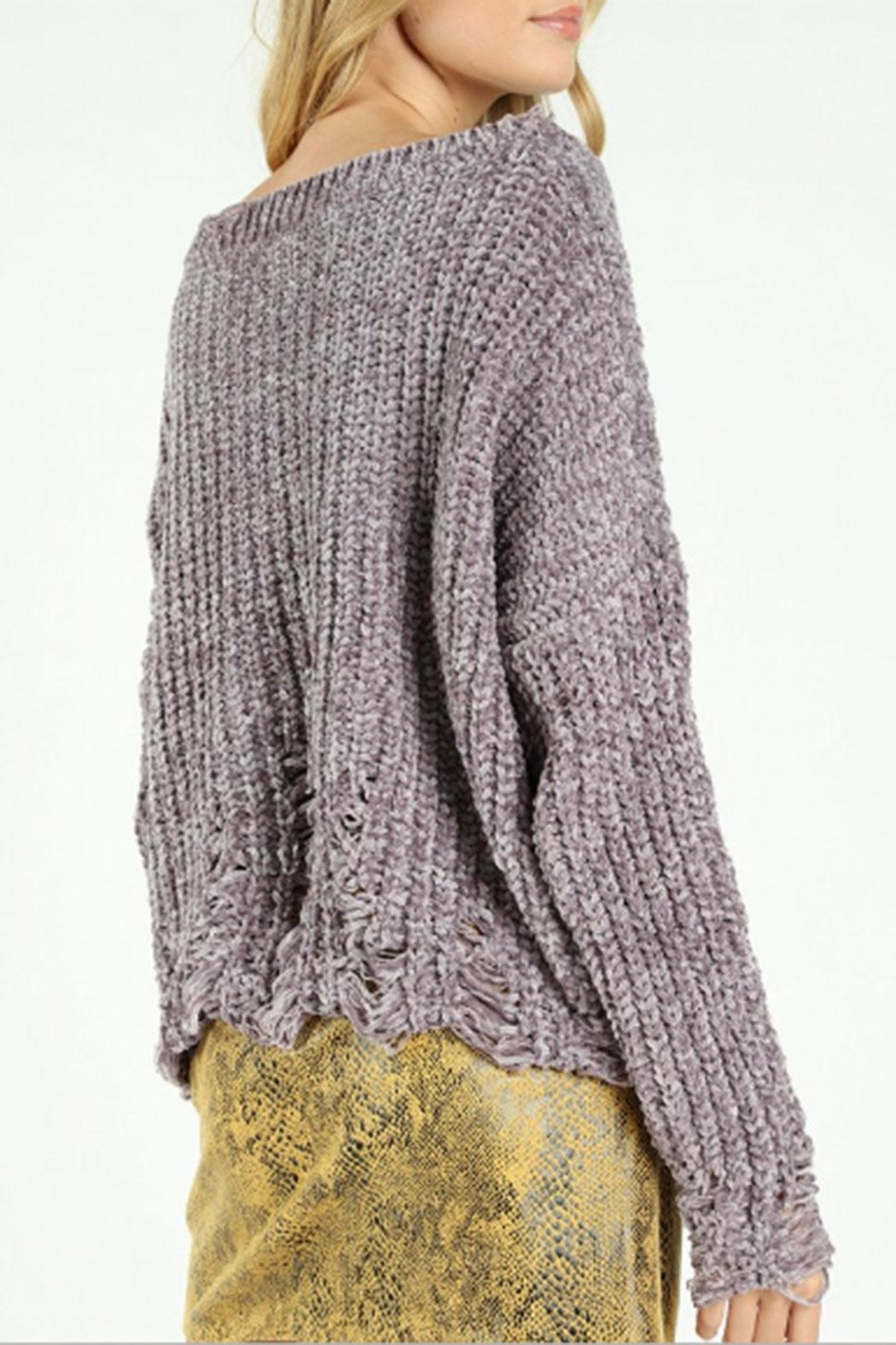 Honey Punch Destructed-Chenille Cable Sweater - Side Cropped Image