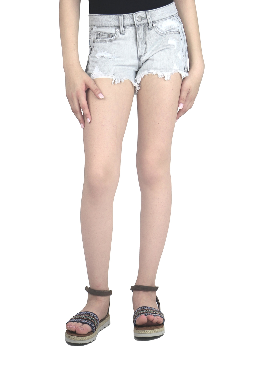 Tractr Destructed Gray Shorts - Main Image