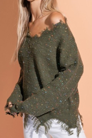 LA MIEL  Destructed V-Neck Sweater - Product Mini Image