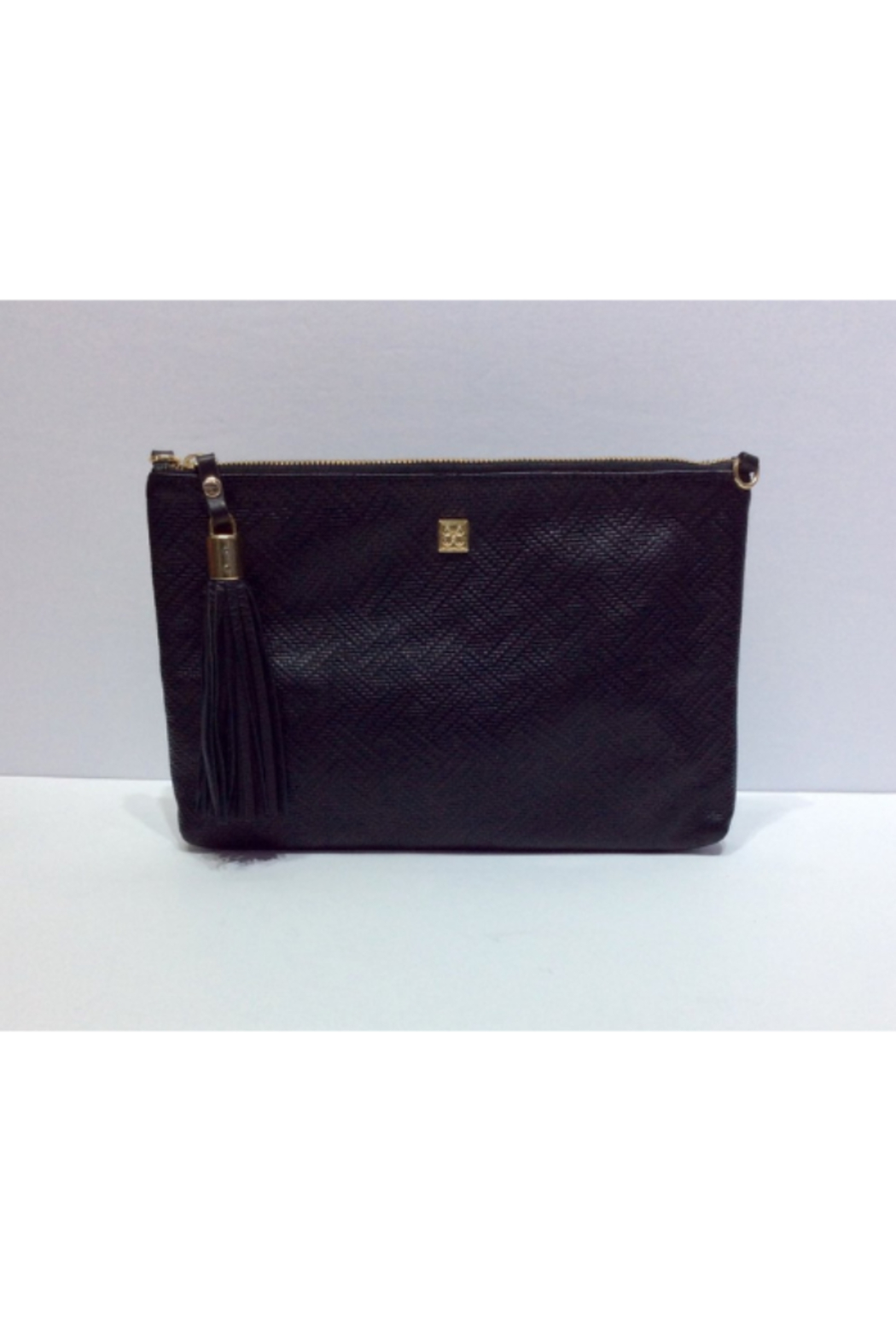 DiJore Detachable Strap Large Black Leather Clutch Purse - Front Cropped Image