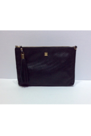 DiJore Detachable Strap Large Black Leather Clutch Purse - Front cropped