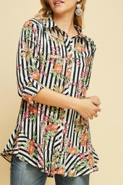 Entro Detailed Navy Blouse - Product Mini Image
