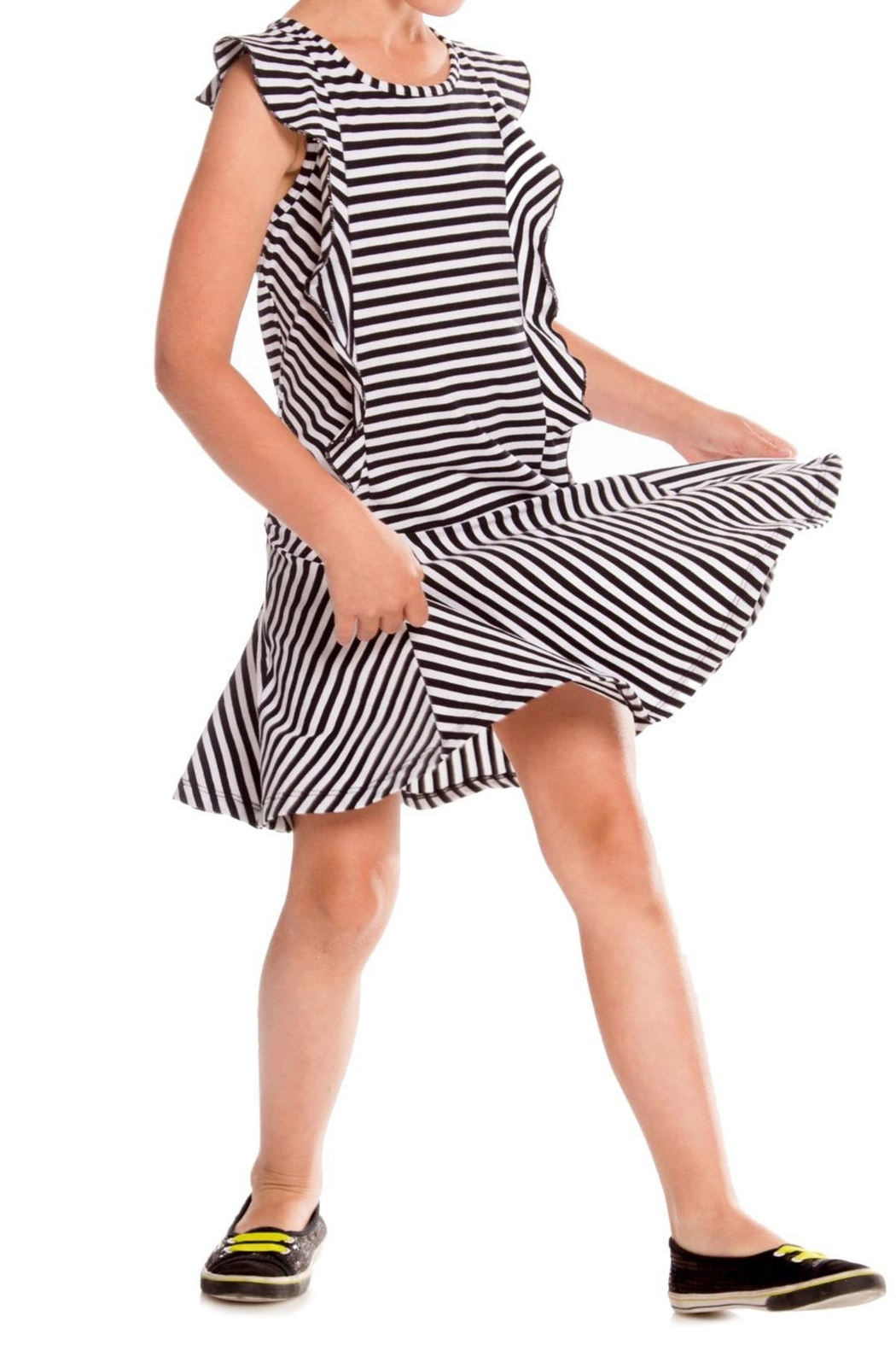 Deux Par Deux Black Stripe Dress - Main Image