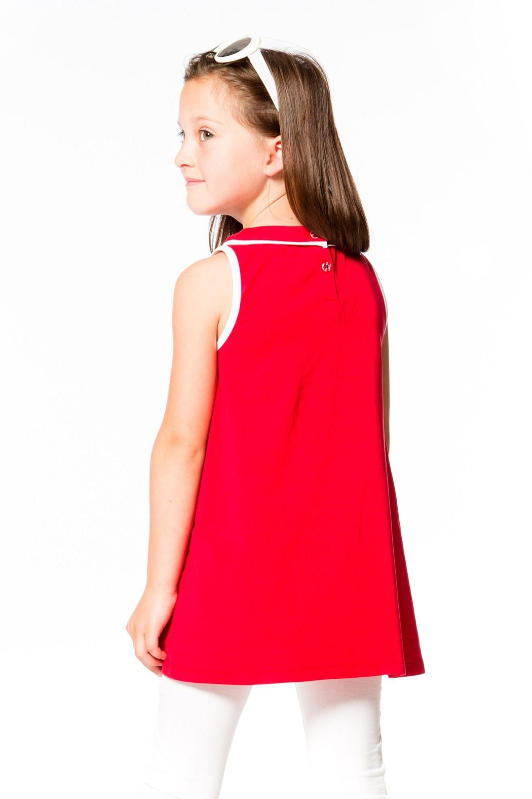 Deux Par Deux Red Sleeveless Tunic - Front Full Image