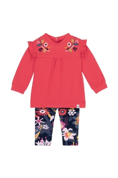 Deux Par Deux Ruffled Tunic With Flower Print Leggings Set - Alternate List Image