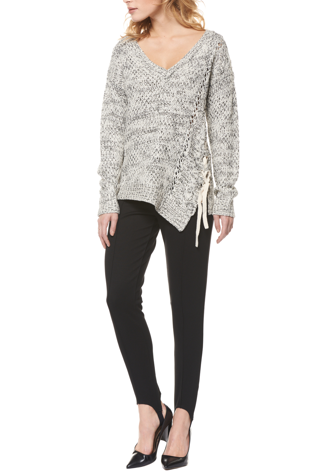 Dex Asymmetrical Lace Up Sweater - Main Image
