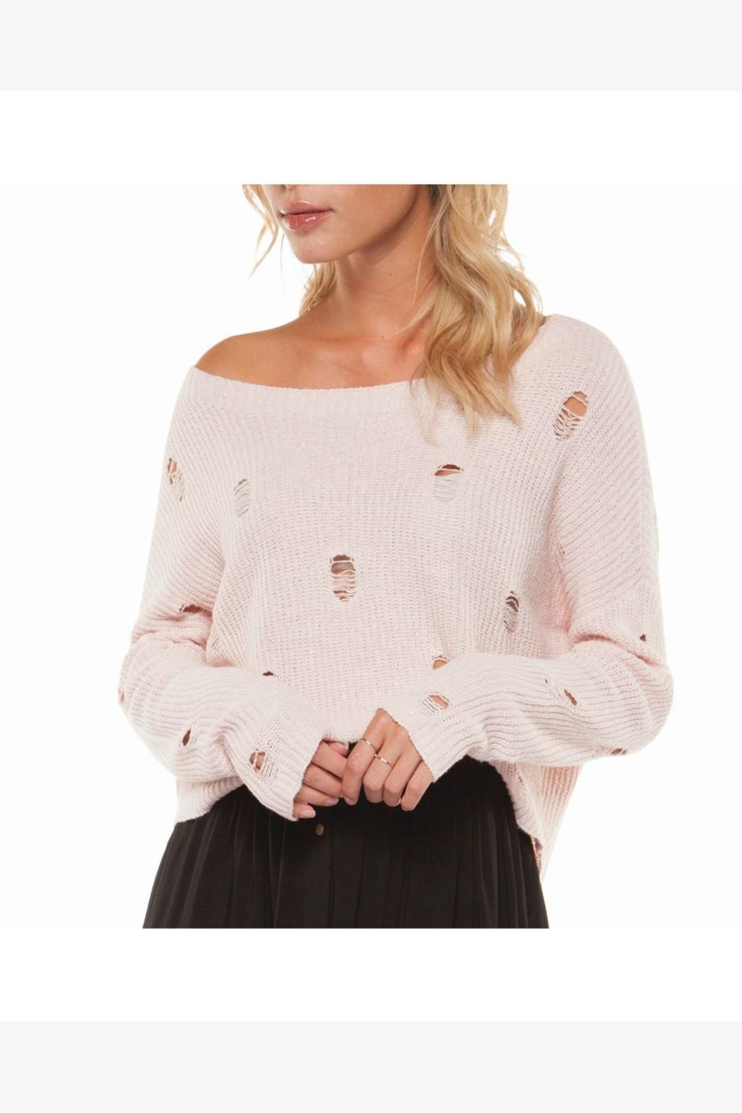 Dex Distressed Sweater - Front Cropped Image