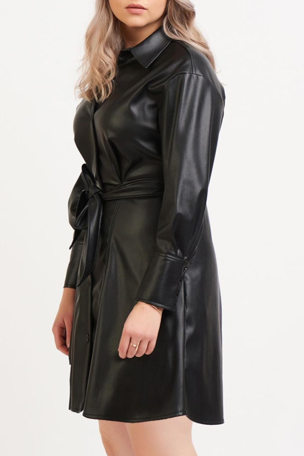 Dex Belted Leather Dress - Front Full Image