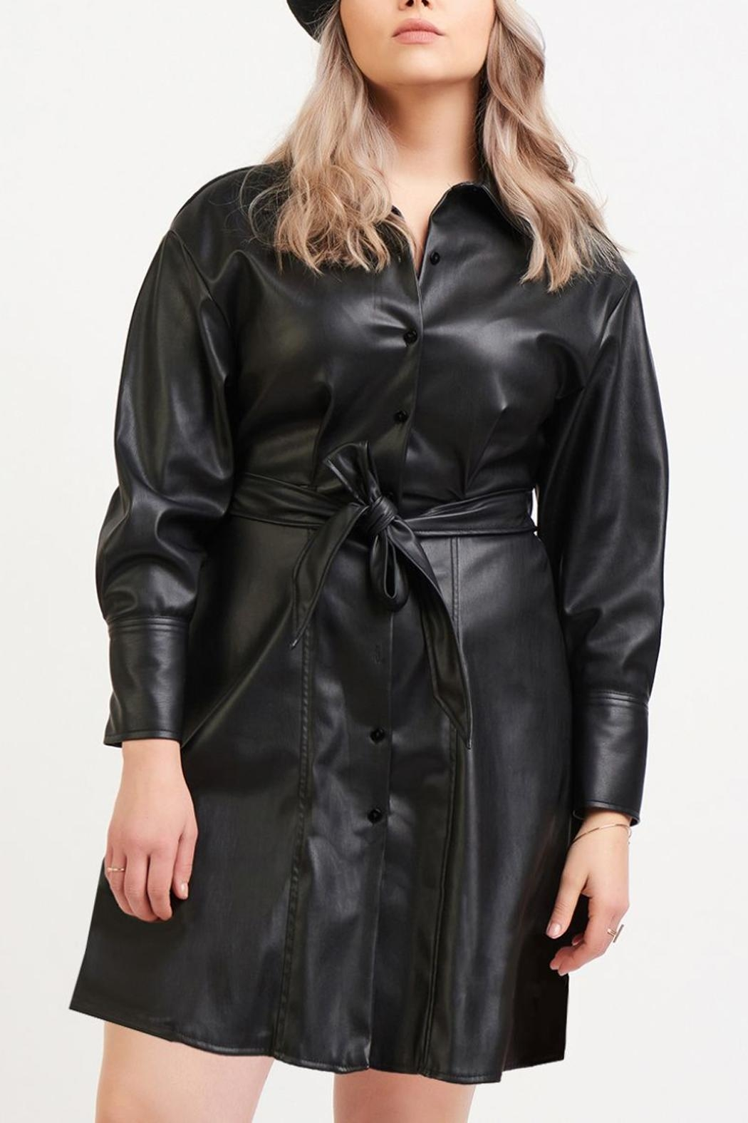 Dex Belted Leather Dress - Main Image