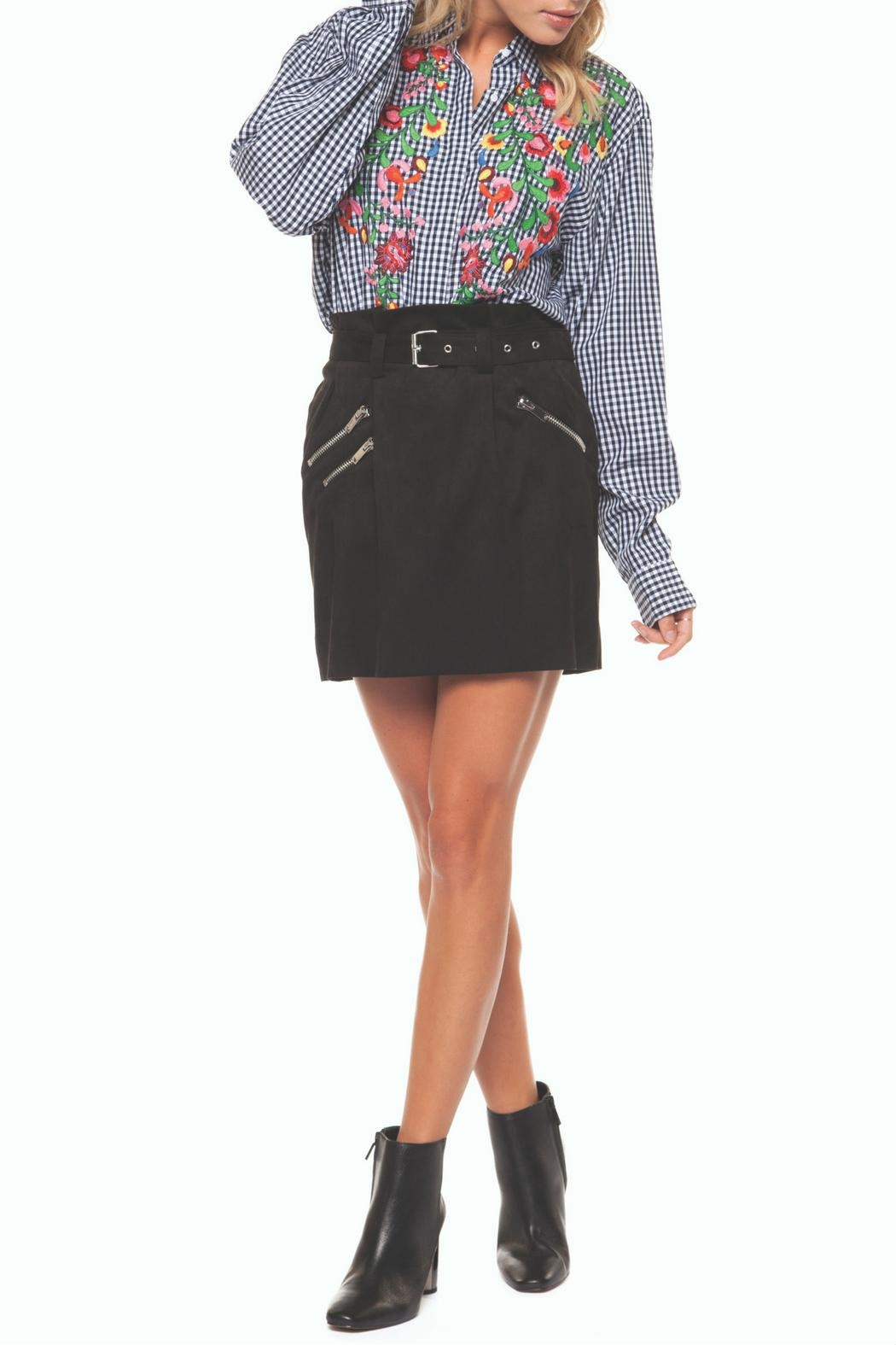 Dex Belted Zipper Mini-Skirt - Front Cropped Image