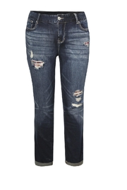 Dex/Black Tape Distressted Cuffed Jeans - Front cropped