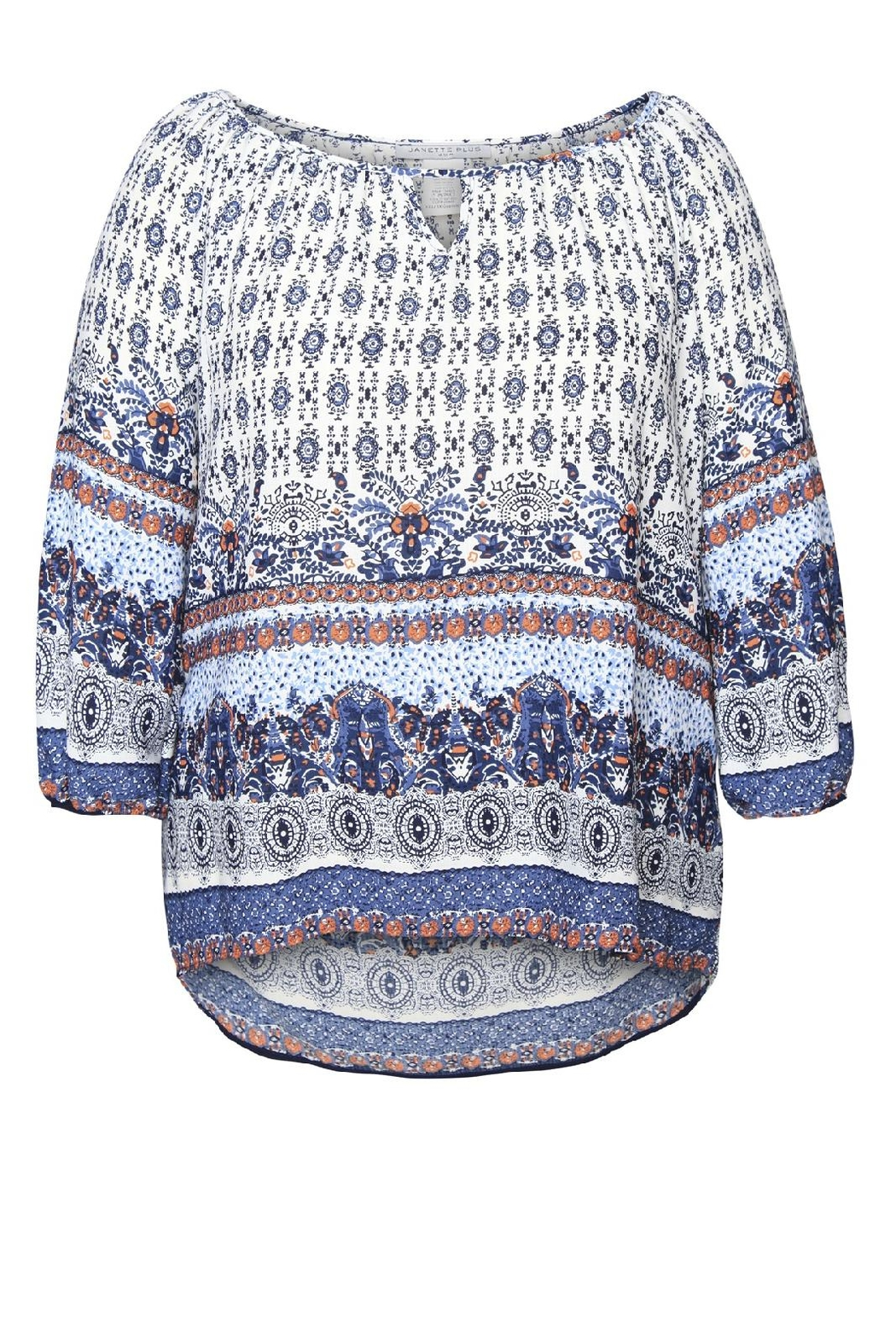 Dex/Black Tape Printed Boho Blouse - Front Cropped Image