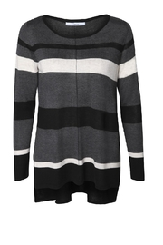 Dex/Black Tape Striped Gray Sweater - Front cropped