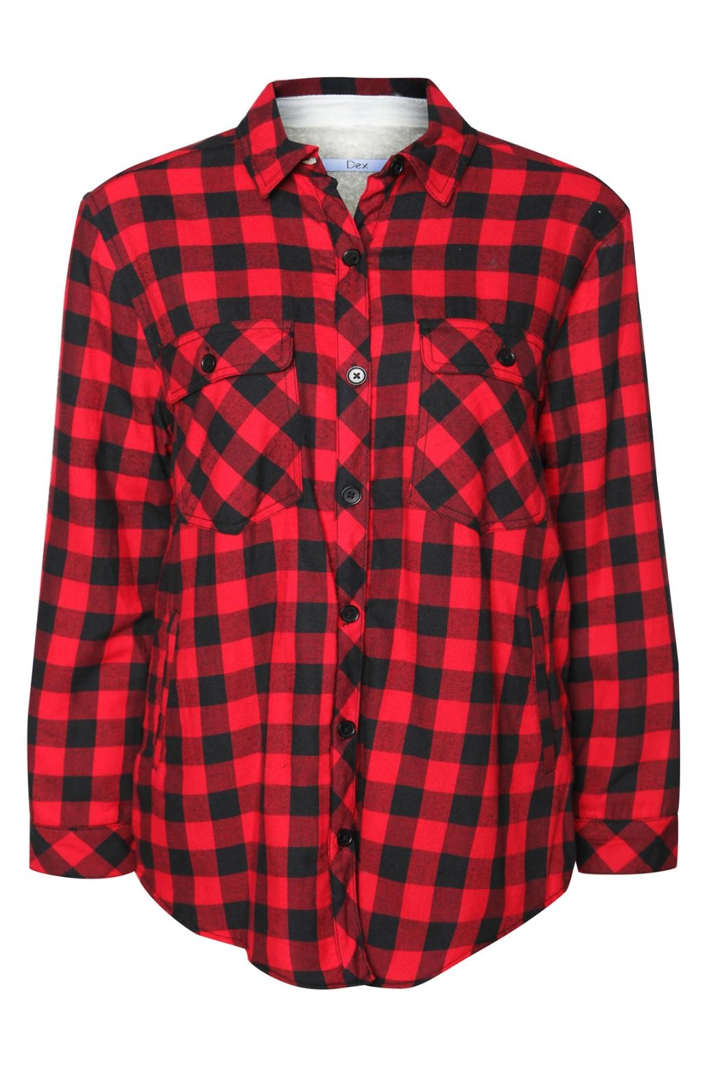 Dex Buffalo Check Fleecy Jacket - Front Full Image