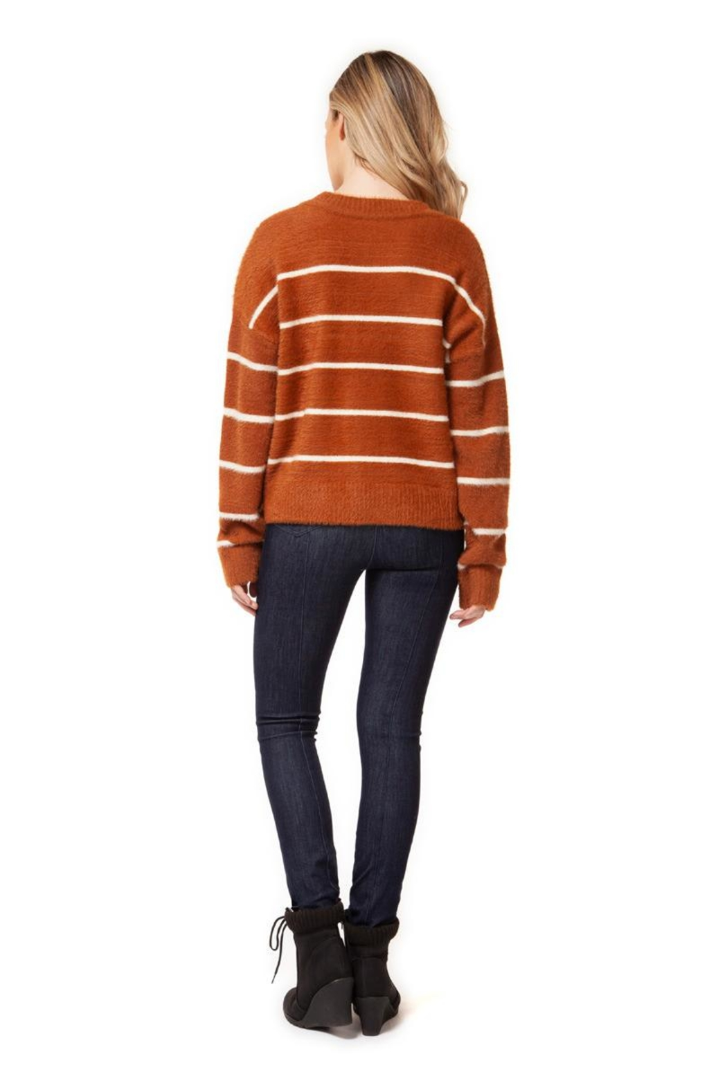 Dex Camel Striped Sweater - Front Full Image