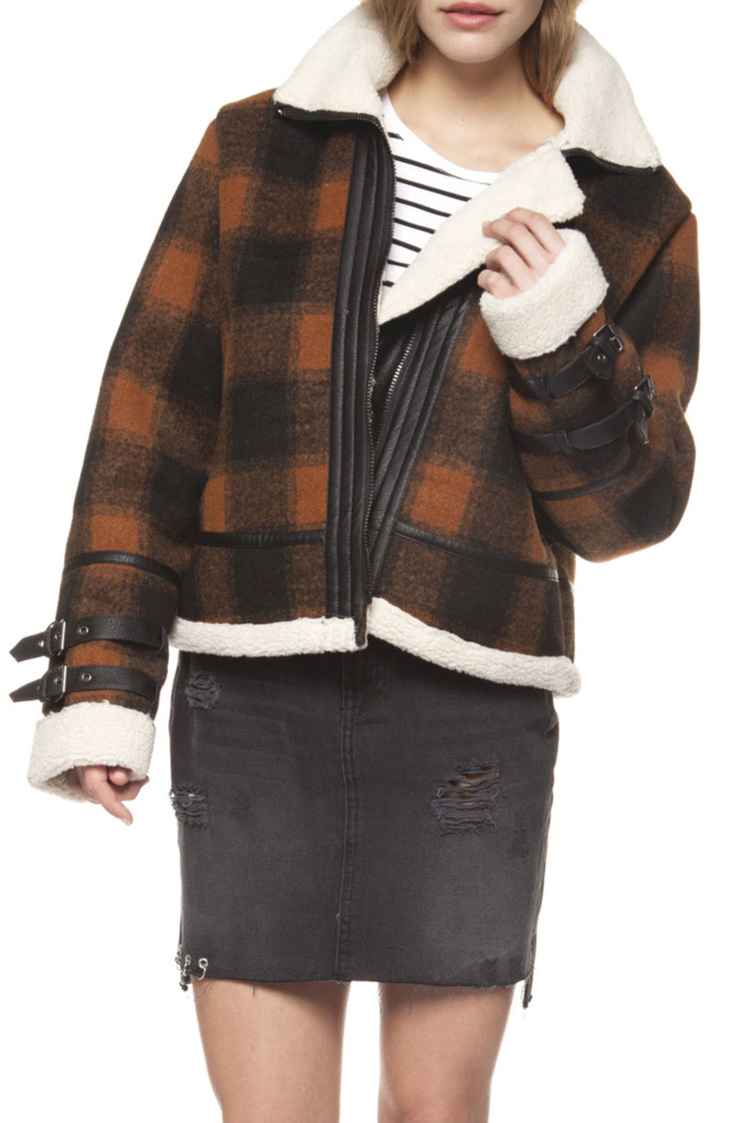 Dex Checkered Plaid Coat - Front Cropped Image