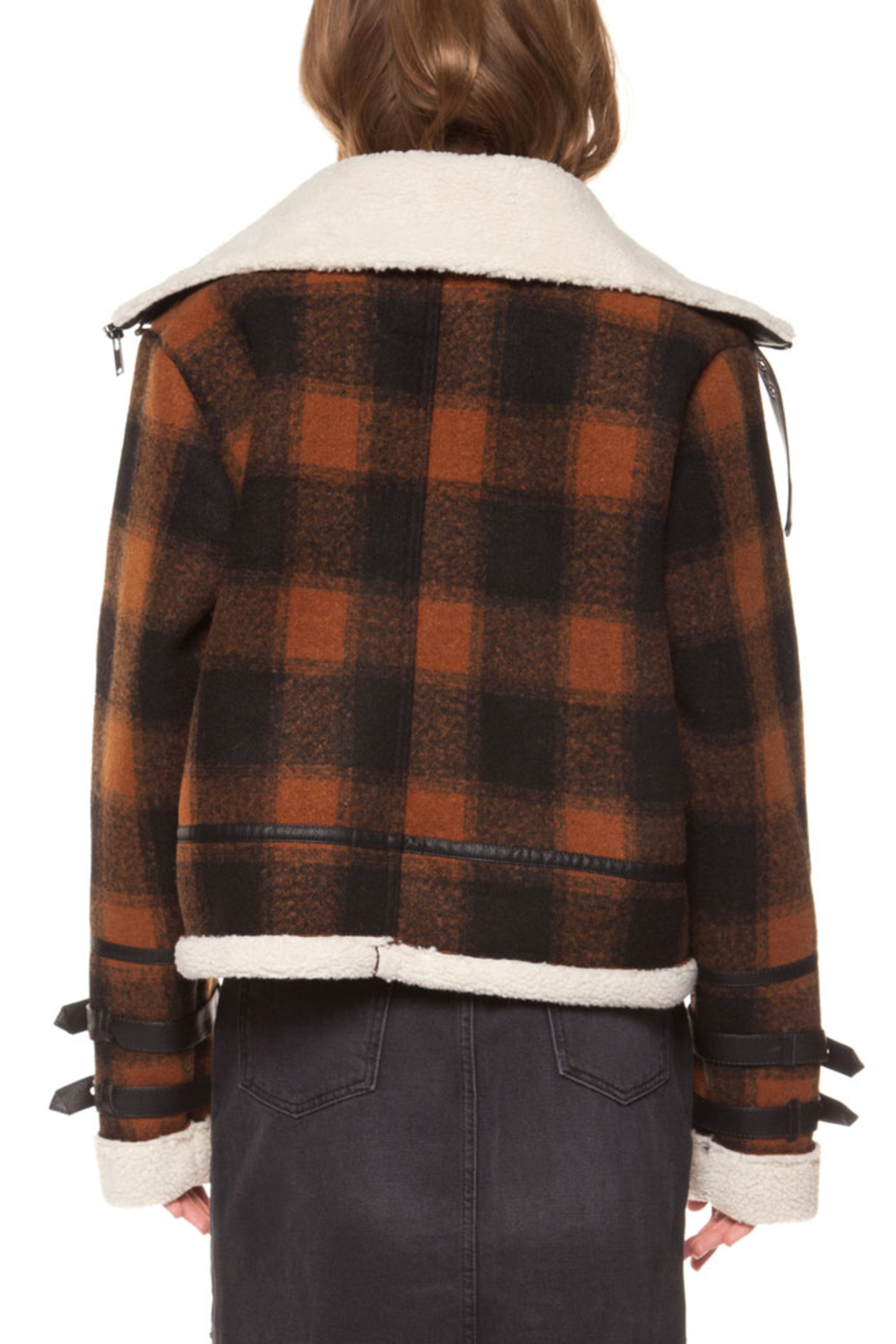 Dex Checkered Plaid Coat - Back Cropped Image