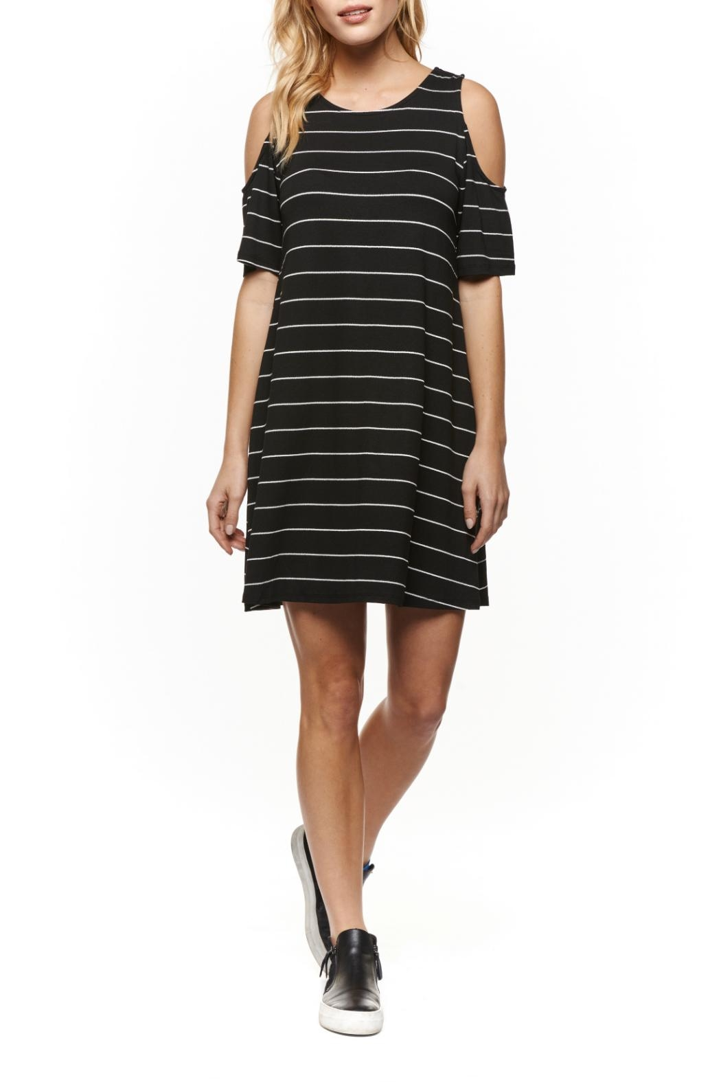 Dex Cold Shoulder Stripe Dress - Main Image