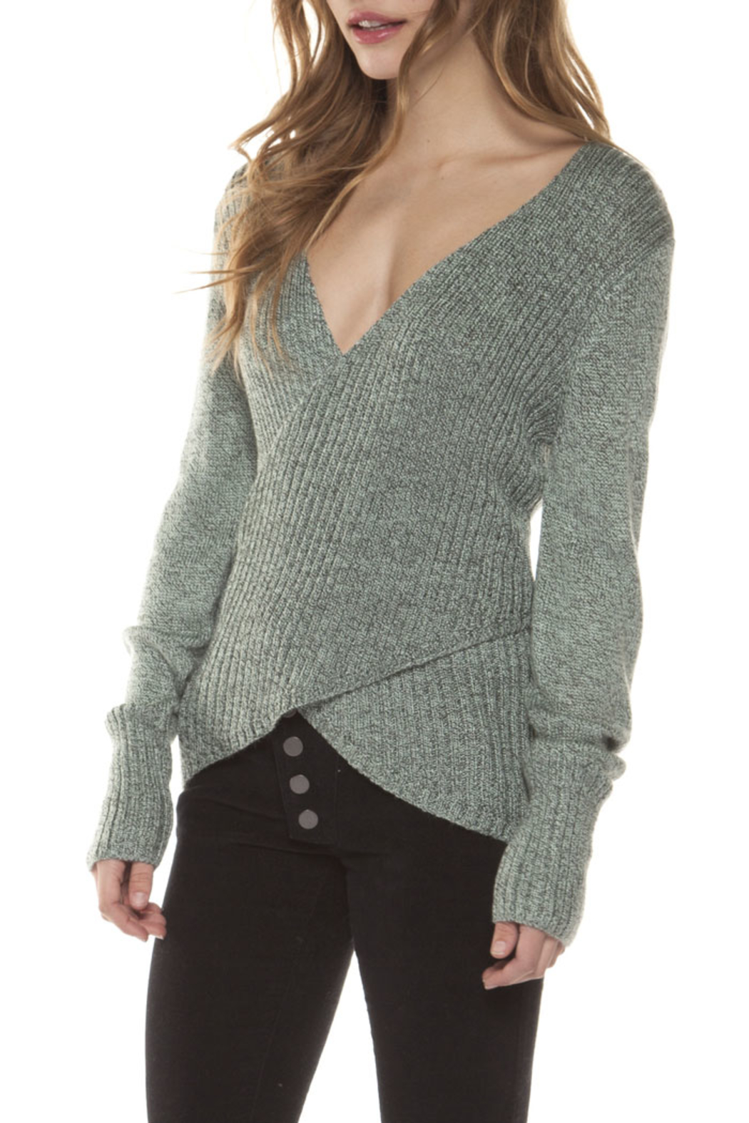 Dex Crossed Sweater Top - Side Cropped Image