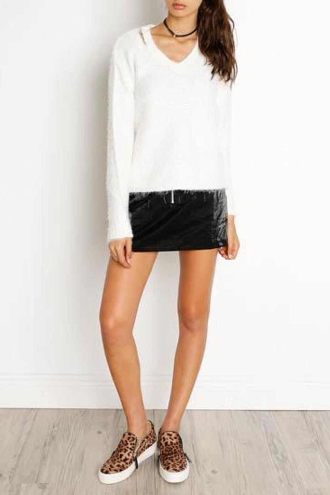 Dex Cut-Out V-Neck Sweater - Front Full Image