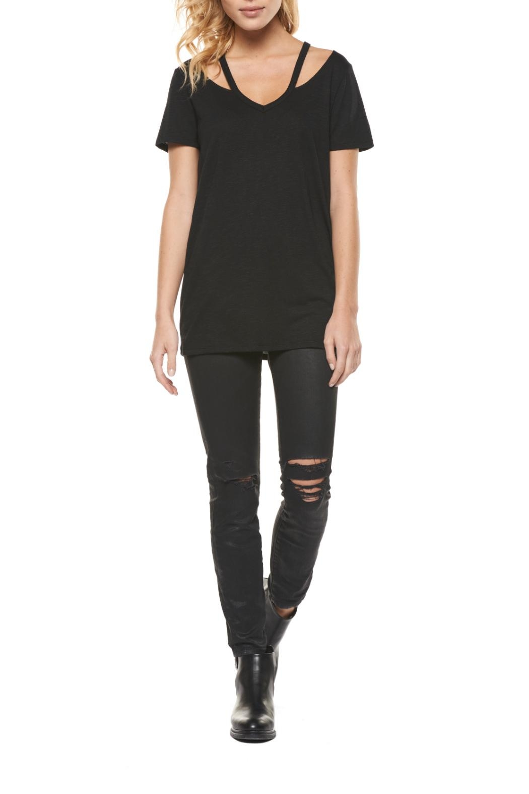 Dex Cutout V Neck Tee - Front Cropped Image