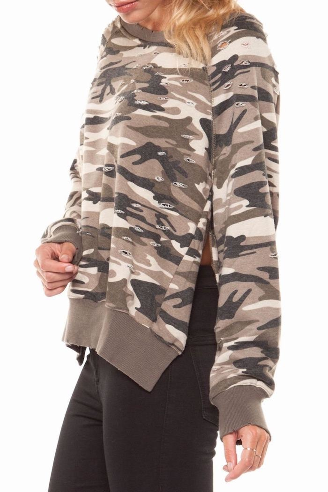Dex Ripped Camo Sweatshirt - Front Cropped Image