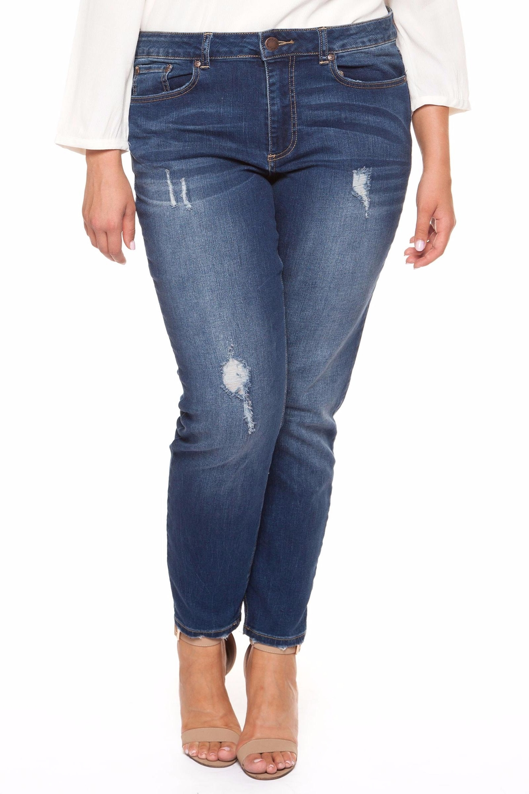 Dex Distressed Denim Pant - Front Cropped Image