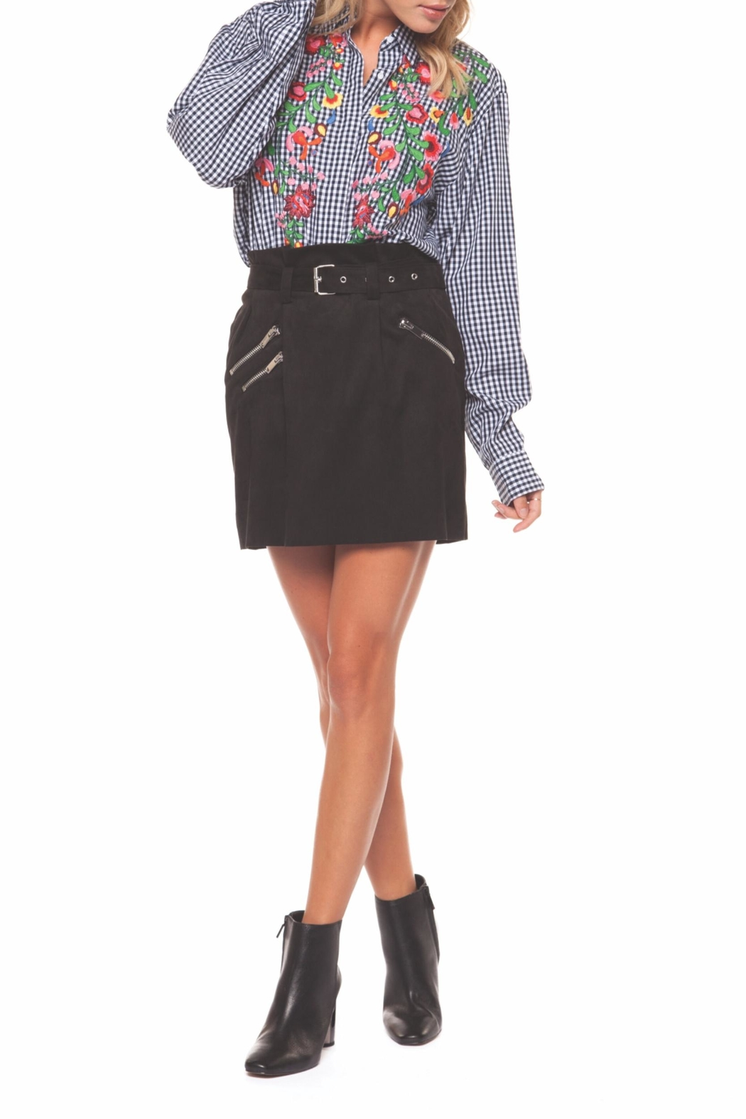 Dex Embroidered Check Blouse - Front Full Image