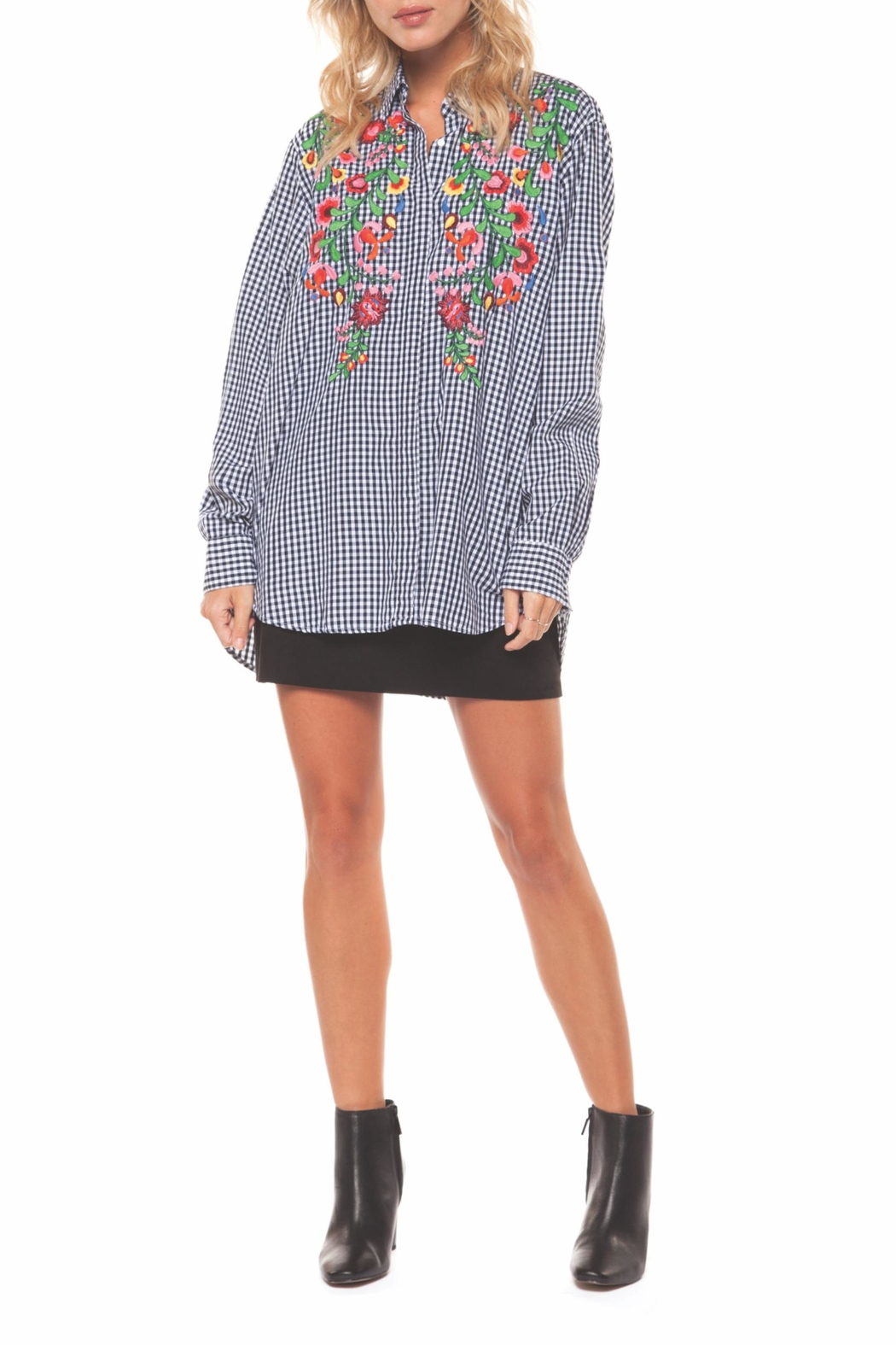 Dex Embroidered Check Blouse - Main Image