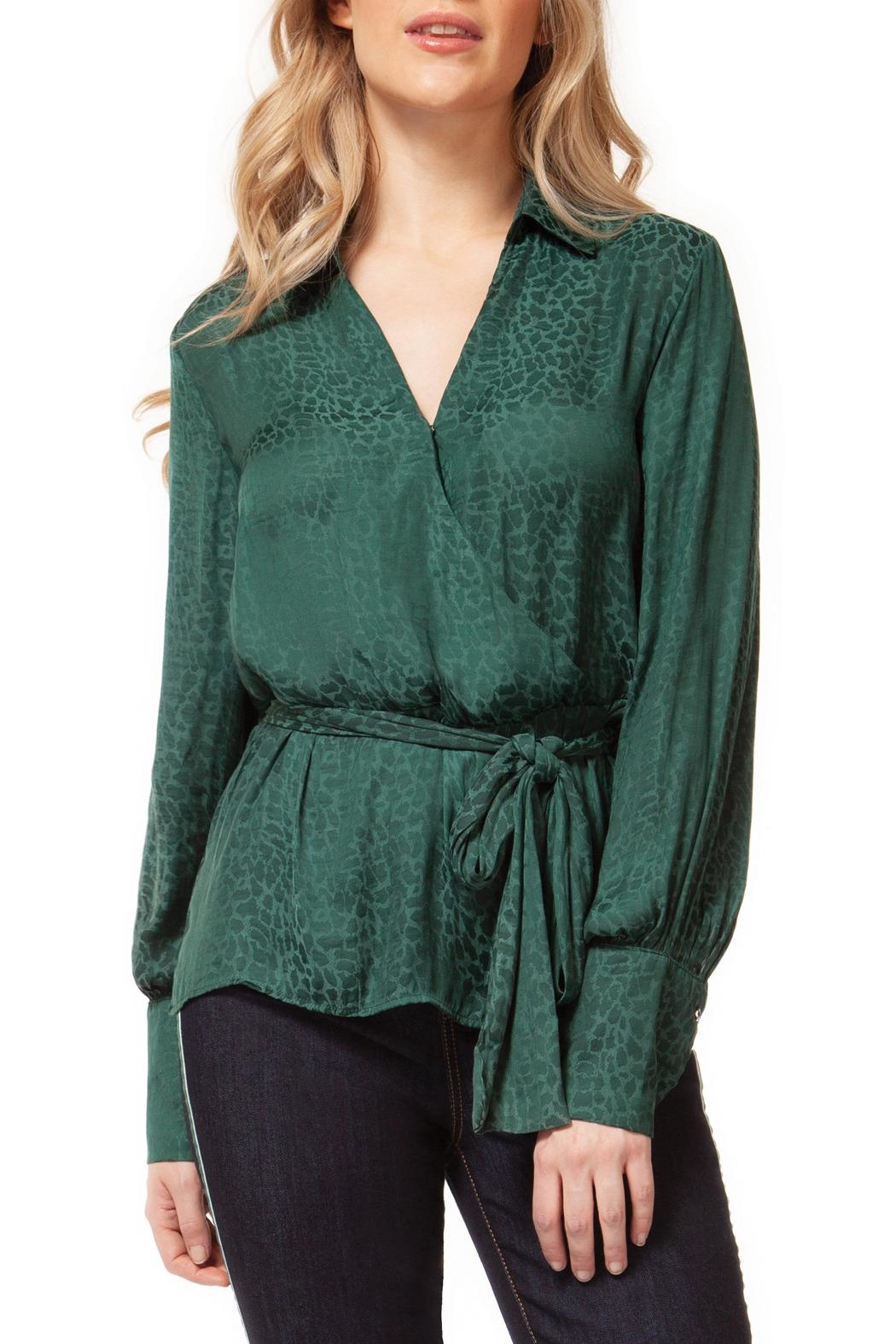 Dex Emerald Leopard Blouse - Front Cropped Image