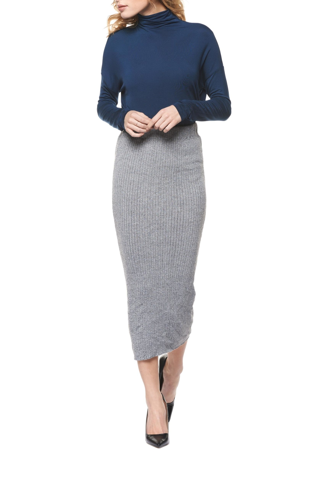 Dex Grey Sweater Skirt - Front Cropped Image