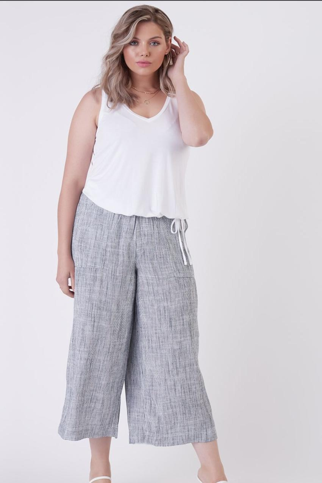 Dex Indigo Flowy Trousers - Main Image