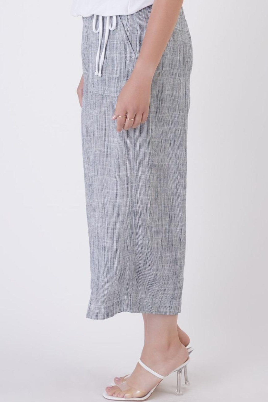 Dex Indigo Flowy Trousers - Side Cropped Image
