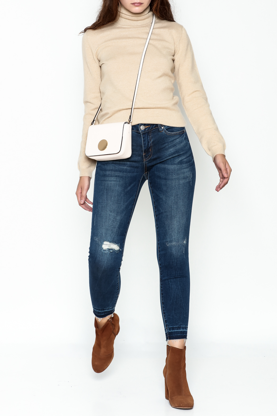 DEX Jeans Madison Distressed Cropped Jeans - Front Full Image