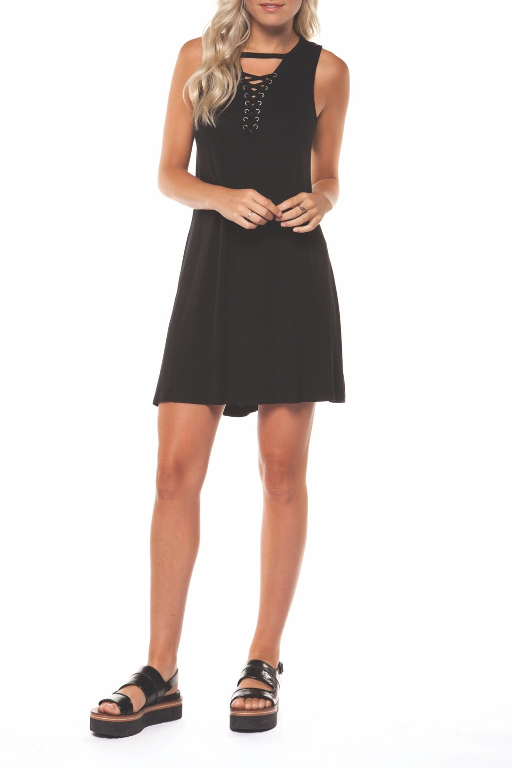 Dex Lace Up Dress - Front Cropped Image