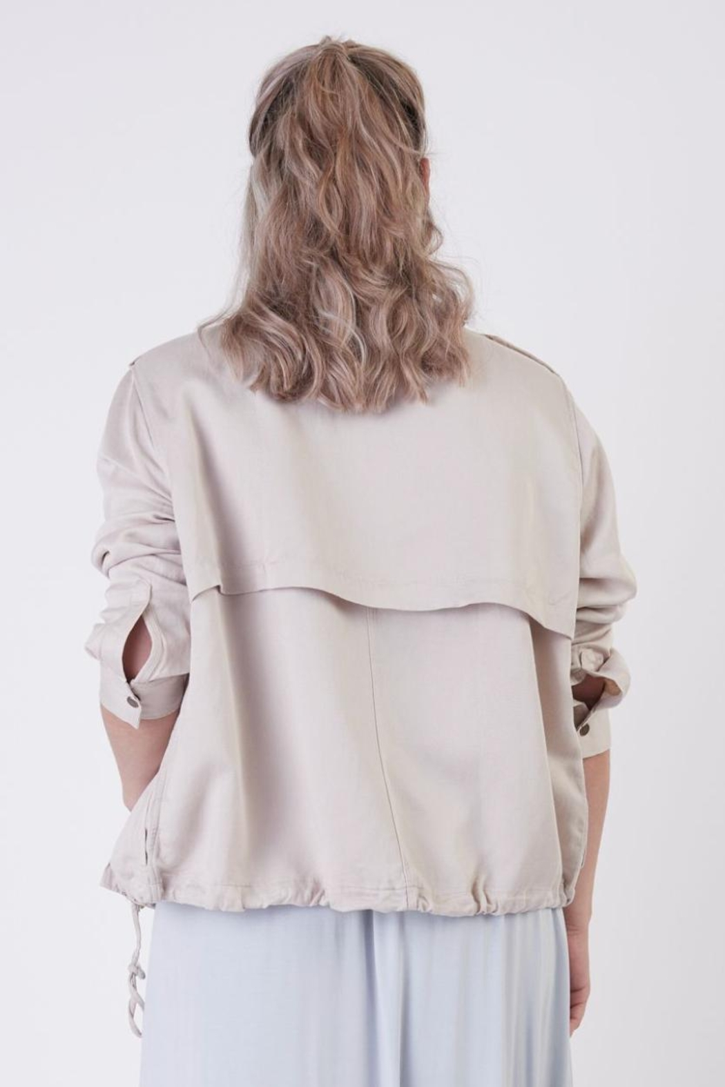Dex Khaki Lightweight Jacket - Back Cropped Image